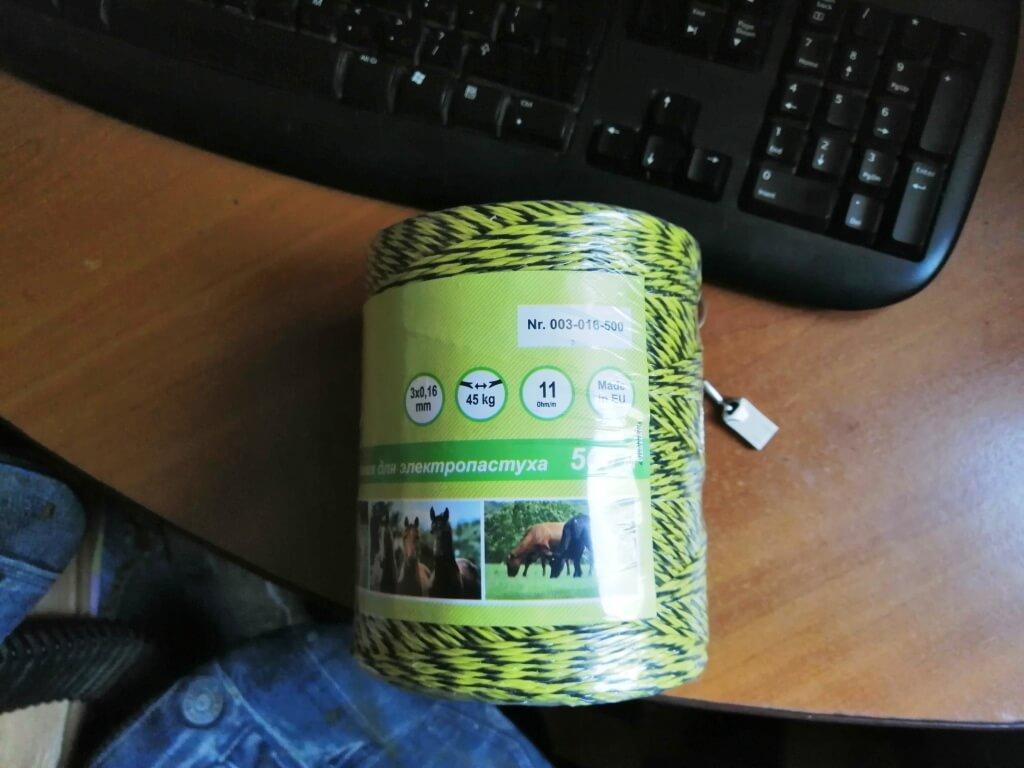Токопроводящий шнур и крепления для электропастуха